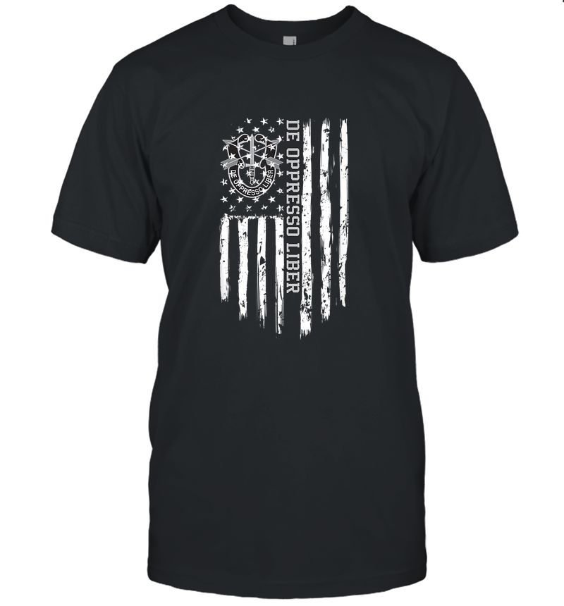 De Oppresso Liber Us Army Special Forces American Flag T-Shirt