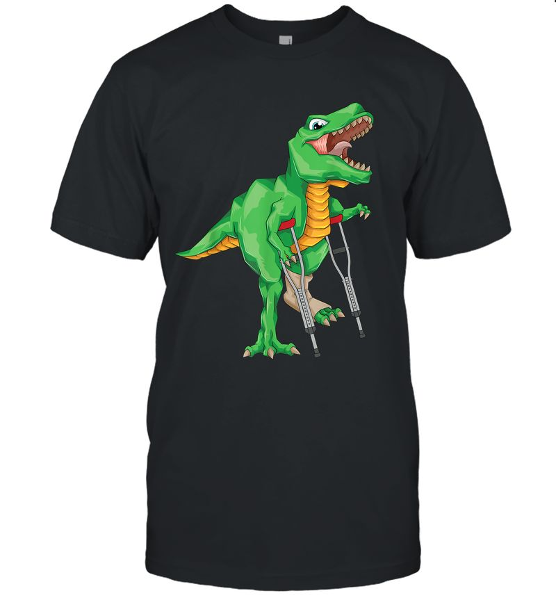 Broken Leg Dinosaur Cute Dino Bone Injury Funny Patient Gift T-Shirt