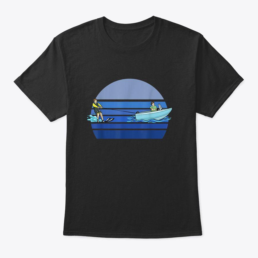 Retro Blue Water Ski Lover Gift Waterski Love Gifts Skiing T-Shirt