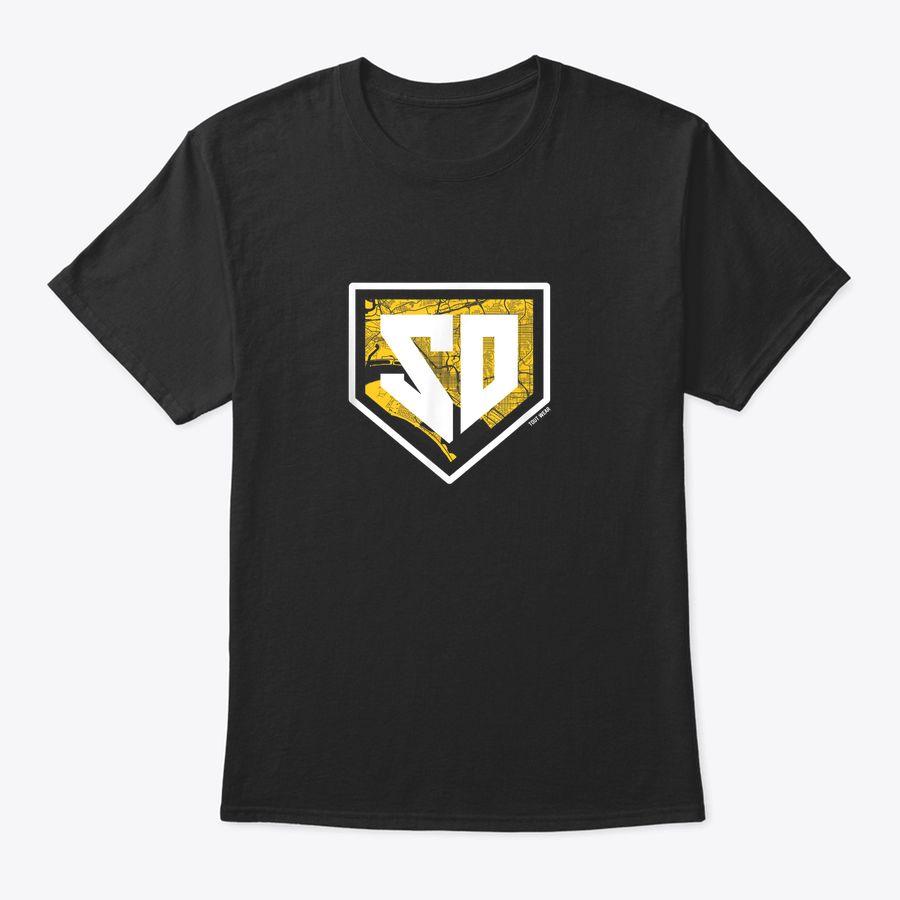 Vintage San Diego Baseball Home Plate City Map T-Shirt