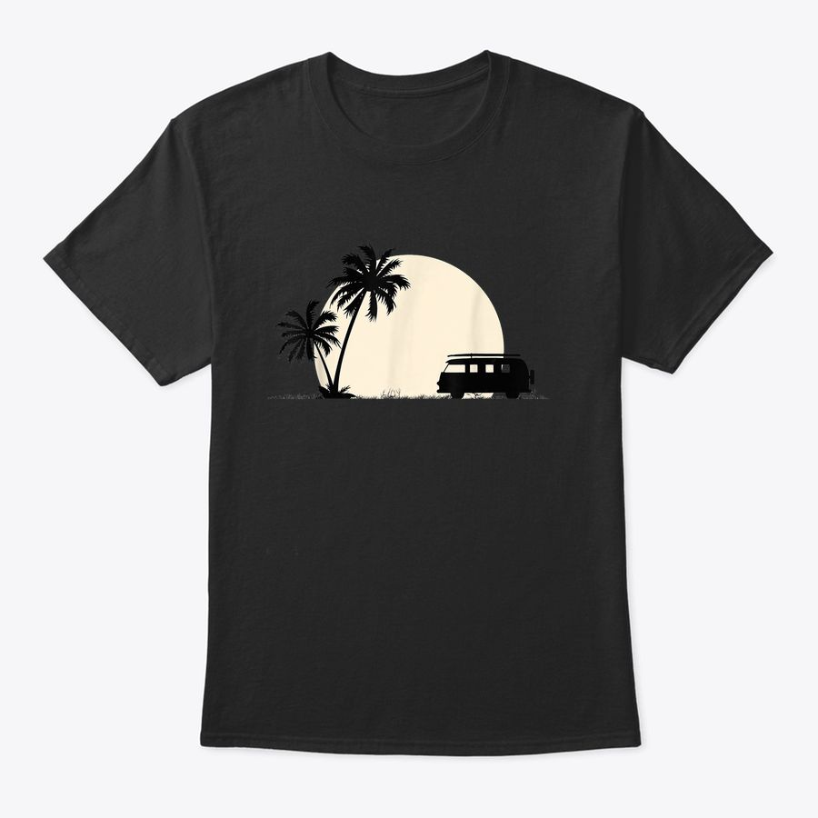 Palm Trees Moon & Camper Van For Camping & Travel Road Trips T-Shirt