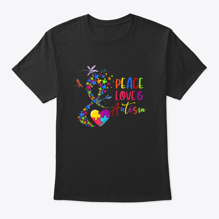 Love Peace & Autism Cool Gift On Autism Awareness For Family T-Shirt