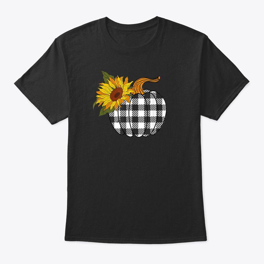 Plaid Pumpkin Sunflower Fall Thanksgiving T-Shirt