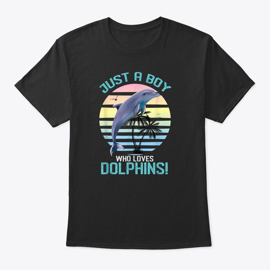 Just A Boy Who Love Dolphins Retro Sun Gift T-Shirt