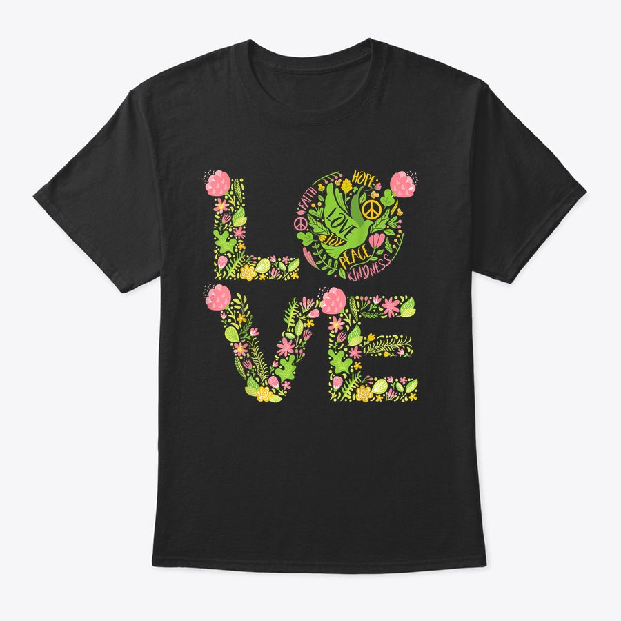 Floral Pigeon Love, Green Pink Flowers, Bohemian Hippie Gift T-Shirt