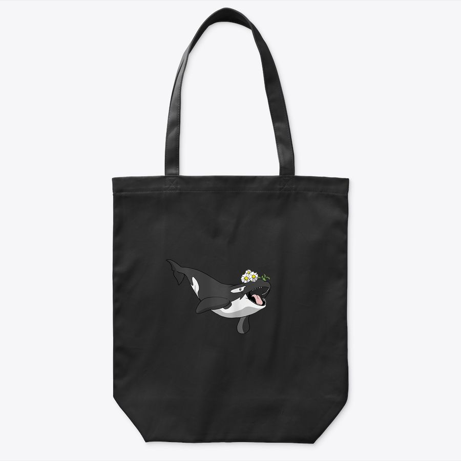 Cute Orca Floral Gift I Killer Whale Head Flowers Tote Bag