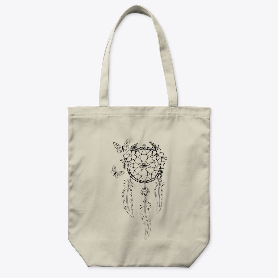 Lineart Blogger Vintage Minimalistic Dream Catcher Flowers Tote Bag
