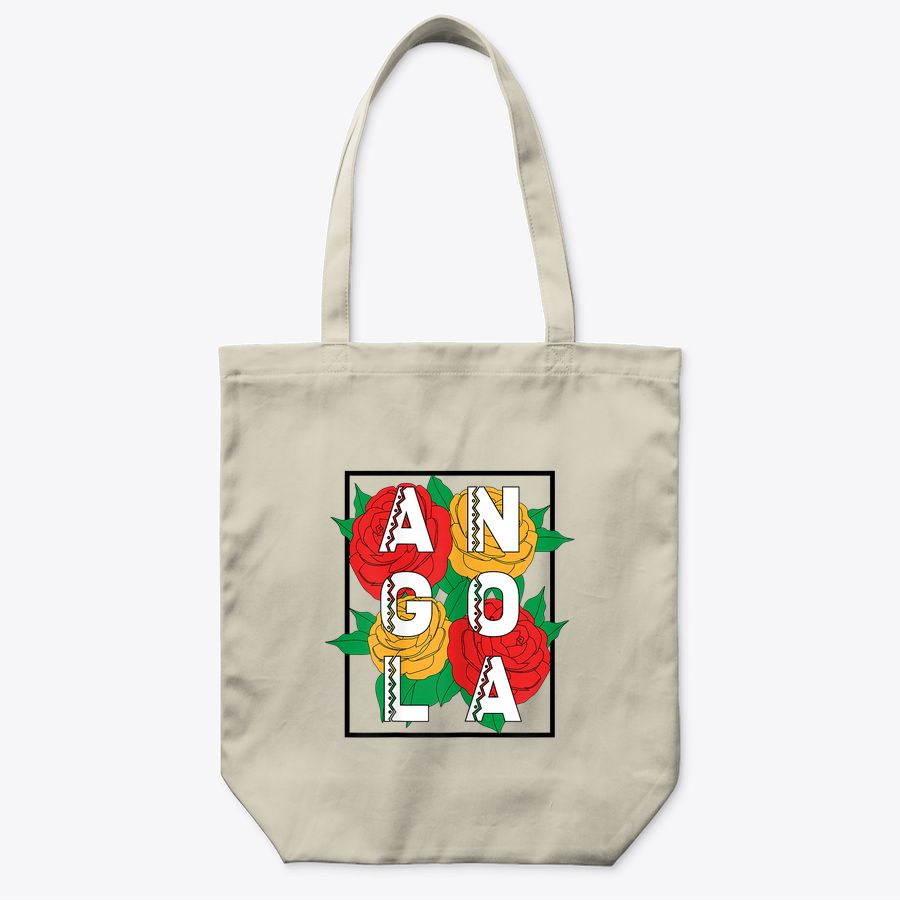 Proud Angola Black Power Colorful Flower Roses Tote Bag