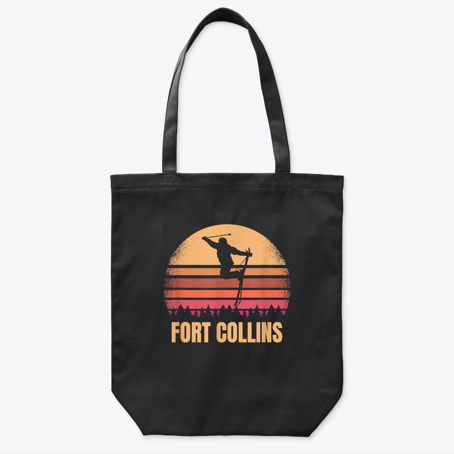 Fort Collins Colorado Skier Vintage Co Skiing 80S Ski Resort Tote Bag