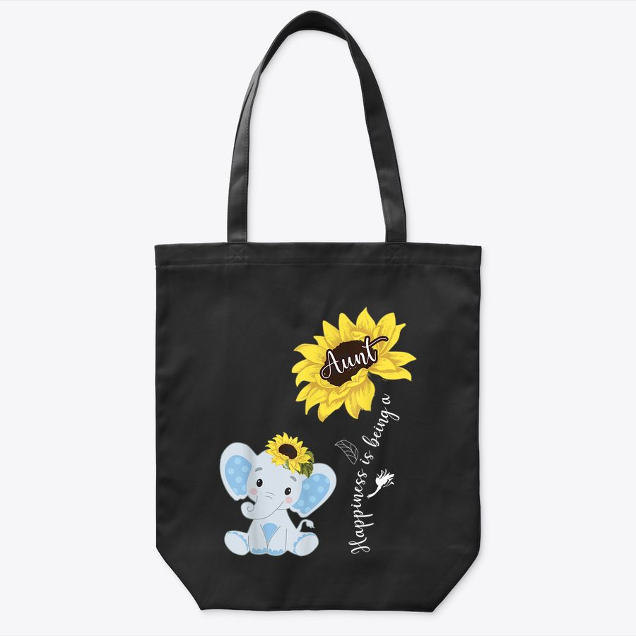Happiness Is Being An Aunt Elephant Sunflower Tote Bag
