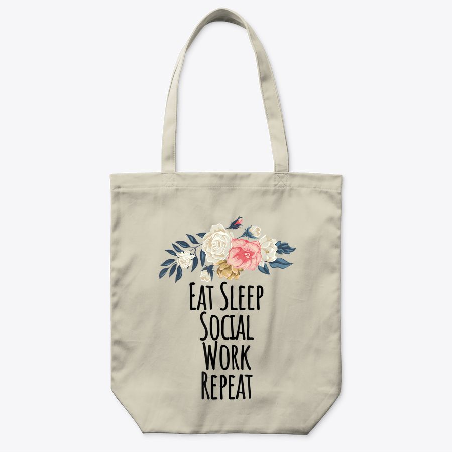 Eat Sleep Social Work Repeat Funny Floral Flowers Gift Mom Tote Bag