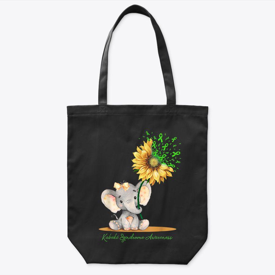 Kabuki Syndrome Awareness Cute Elephant Sunflower Lime Tote Bag