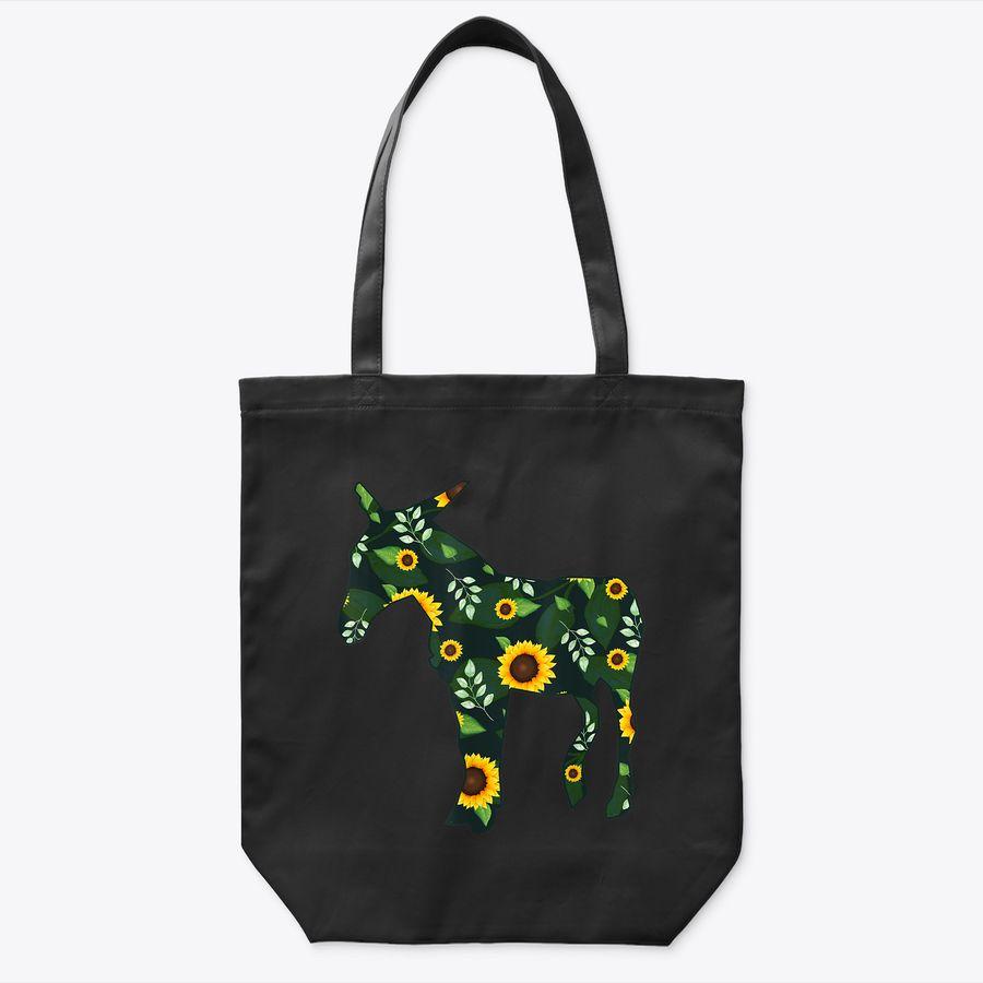 Mule Sunflower Girl Floral Donkey Horse Hawaiian Women Gift Tote Bag
