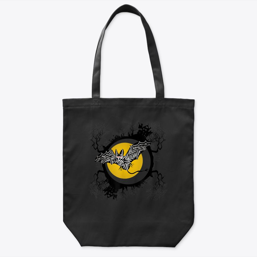 Halloween Bat Flying In Front Of Orange Moon On Hallo'S Eve Tote Bag