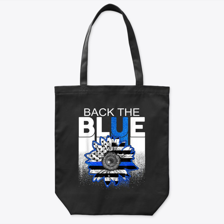 Back The Blue Thin Blue Line Flower American Police Support Tote Bag