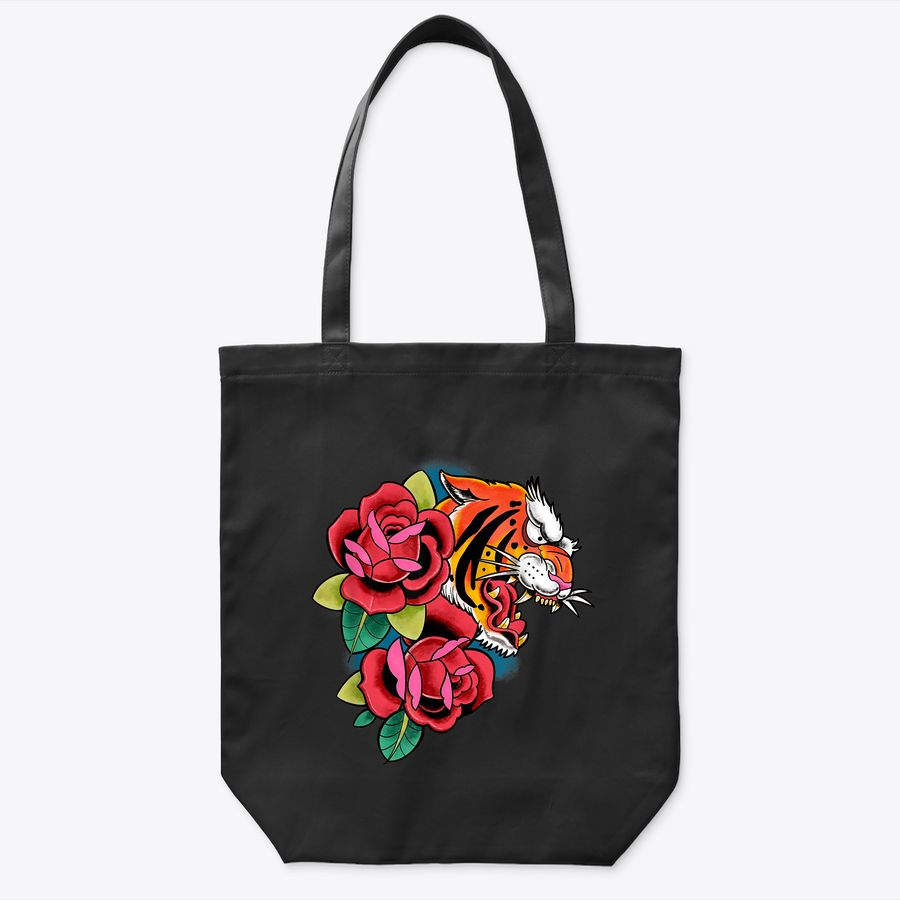 Roaring Tiger With Flowers Creative Colorful Art Graphic Tote Bag