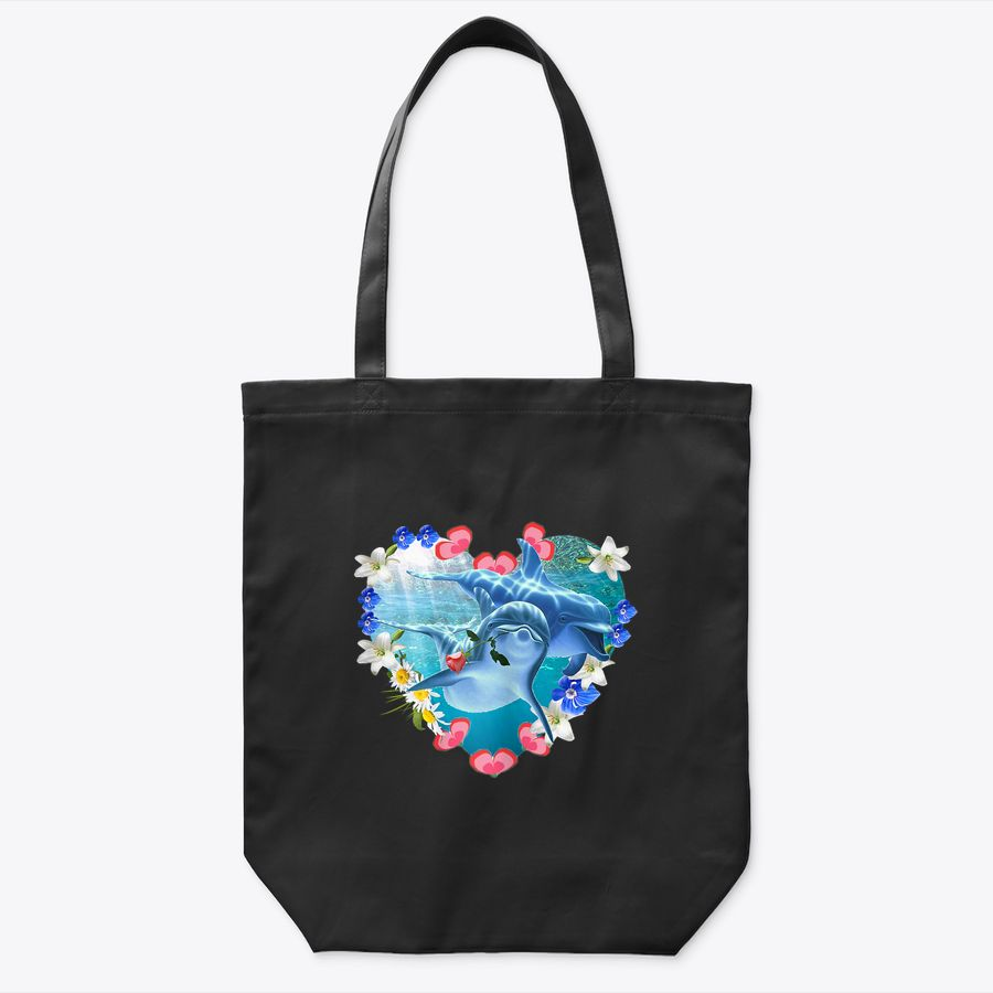 Womens Love Heart Rose With Dolphins For Women Tote Bag
