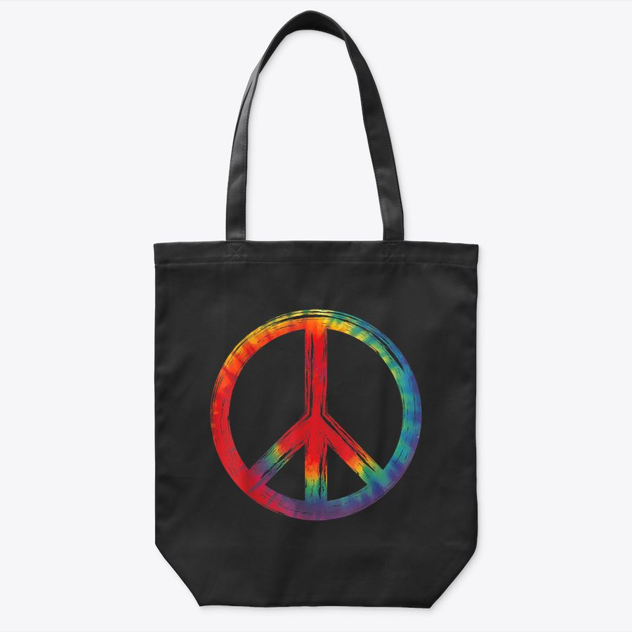 Peace Sign Hippie Love 60S 70S Colorful Tie Dye Retro Tote Bag