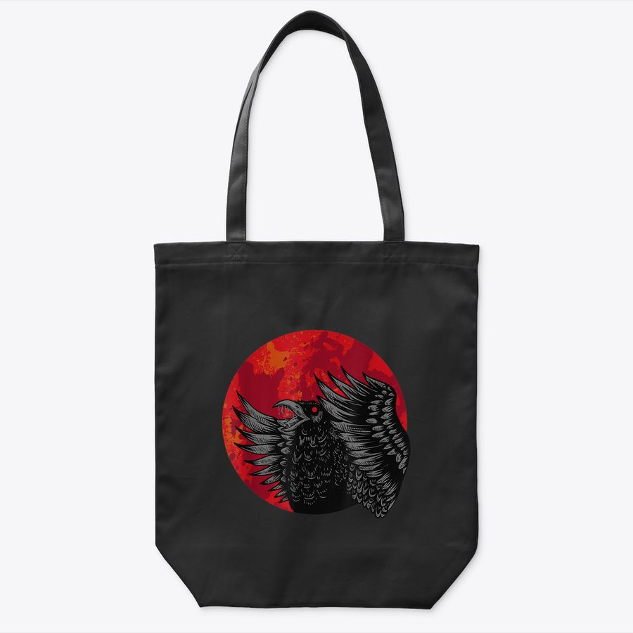 Red Moon Raven Spooky Black Crow Halloween Costume Gift Tote Bag